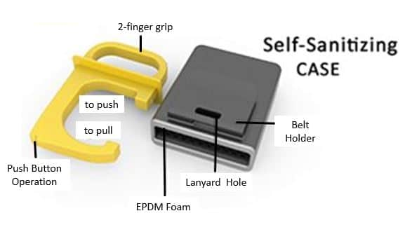 Covid Safe key , the self sanitizing key diagram