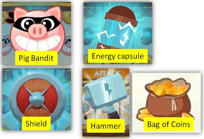 Bag of Coins Pig Bandit Hammer Shield Energy capsule